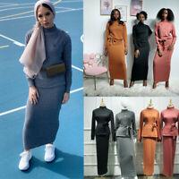 2pcs Knitted Set Muslim Women Long Sleeve Turtleneck Tops + Maxi Skirt Abaya Set