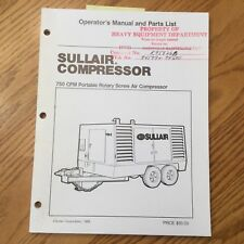 Sullair 750 Cfm Operation Amp Maintenance Manual Parts Book List Air Compressor