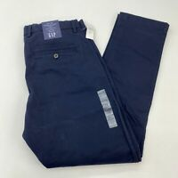 NWT Gap Chino Pants Mens 32x30 Navy Comfort Stretch Waistband Tapered Leg Casual