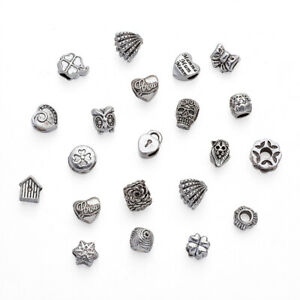 100pcs Tibetan Silver Beads Mixed Shape Large Hole Loose Spacers Jewelry 10~14mm