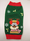 Dog/Cat Ugly Christmas Sweater Embroidered Green Cute Reindeer Sz sm-Med Holiday