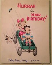 Vintage Early 1940's HURRAH for Your Birthday Card Gibson Cinti. 5 G 30155