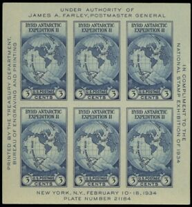 Byrd Antarctic Expedition II Souvenir Sheet of Six 3 Cent Stamps Scott 735