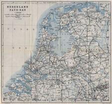 HOLLAND NEDERLAND PAYS-BAS General map. Netherlands kaart. BAEDEKER 1910
