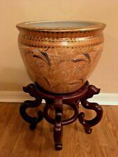 "Chinese Pottery Porcelain Jardiniere Planter Pot Urn~11"" tall~14"" diam~U Pick Up"