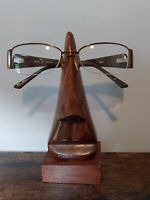 "Ten Thousand Villages Wooden Eyeglass Holder Rest ""the Nose Knows"" Wood 6"" India"