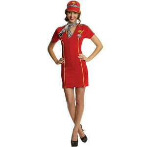 Ladies Race Racer Girl F1 Pit Grid Crew Sexy Fancy Dress Costume Outfit UK 8/10