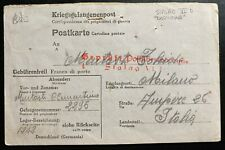 1943 Germany Stalag 6D POW Prisoner of War Postcard Cover To Ampere Italy