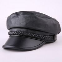 Mens Women Soft Leather School Army Newsboy Hats Lip Flat Caps Baseball Caps