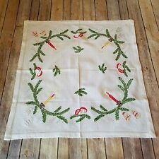 Tablecloth Crewel Linen Fringe Table Topper Bedspread vintage Floral Square