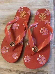 TORY BURCH Orange Flip Flops size 7