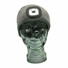 GREY Beanie w/ Rechargeable Outdoor Heavy Duty Tough Lightweight LED Head Lamp
