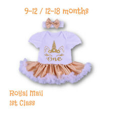 Baby Girl Unicorn 1st Birthday Tutu Fancy Party Outfit Dress One Headband Gold