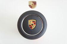 Porsche 991 981 Spyder GT3 GTS GT4 Turbo Deckel für Airbag Lenkrad Leder Schwarz