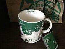 Starbucks Coffee Shanghai Green Christmas Relief City Mug 16oz