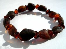 NATURAL  BALTIC AMBER BRACELET RAW & POLISHED WITH ELASTIC STRETCH