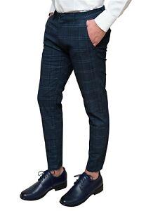 Pantaloni uomo Capri blu scuro invernali tessuto quadri eleganti casual slim fit