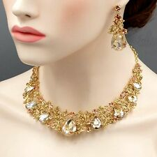 Gorgeous Gold Plated GP Topaz Crystal Necklace Earrings Wedding Jewelry Set 4316