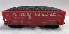 Vintage Marx Ho Scale Western Maryland 70018 Red Hopper With Coal Load