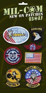 USAF Repro USA Air Force Top Gun Aviatore Costume Ricamato Cucito Su Toppe