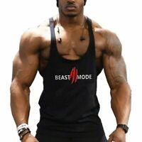 "Men Fitness Gym Workout Tank Top Bodybuilding ""BEAST MODE"" Print Sleeveless Vest"
