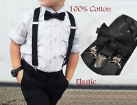 Baby BOY KIDS bLACK Cotton Bow Tie Braces Elastic Suspenders 1-8 Years Old