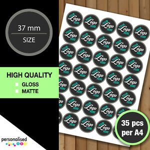 Logo Stickers Round 37mm Personalised Business Labels Custom Image Text Company