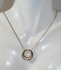 "Floating Circle CZ stone gold plated 925 Sterling Silver 18"" Necklace 1k 39"