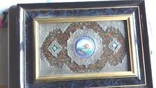 Sublime tableau  persan XIXeme émail et argent sur papier maché ou bois.