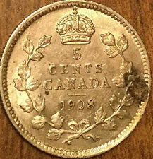 1908 CANADA SILVER 5 CENTS COIN -Fantastic example Lightly lustrous Close to unc