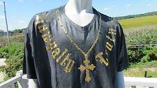 NEW L RAWYALTY t-shirt couture gold bling cross Made for you in heaven black wow