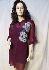 WORTHINGTON 3X PLUS SHEER PURPLE WITH GRAY FLORAL BLOUSE TOP SHIRT