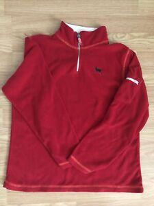 The Black Dog Red Fleece Sweatshirt 1/4 Zip Pullover~Sz 16 Kids XL Pocket On Arm