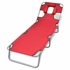 Folding Recliner Sun Bed Lounge Pool Beach Deck Sunbake Red Head Back Adjustable