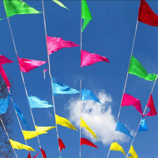 80m Rainbow Colorful Bunting Triangle Flags Wedding Party Outdoor Banner Decor