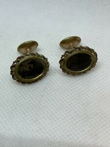 Amazing Victorian Men's Gold Filled Mourning Cufflinks with Photographs
