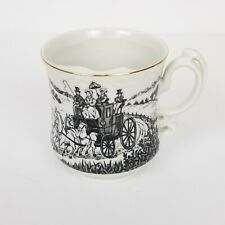 VTG Mustache Coffee Cup Mug w/ Toile Stagecoach Scene Tongass National Forest