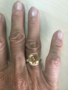 Genuine TGGC Sterling Silver 925 Yellow Citrine Ring Band - Size 8.5