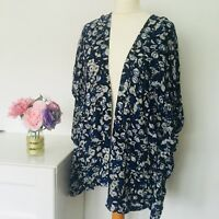 H&M Kimono Top Size Small BLUE WHITE | Floral Print Lightweight Holiday Occasion