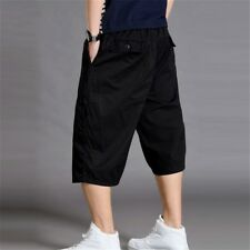 Mens 3/4 Length Cargo Pants Shorts Baggy Casual Cotton Trousers Summer CN 4XL