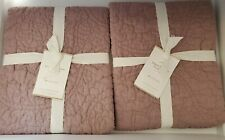 2 Pottery Barn Belgian Flax Linen Floral Stitch Euro Sham Lavender NEW