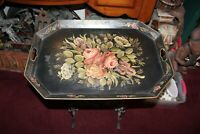 Large Antique Toleware Serving Tray Black Tray Colorful Painted Flowers