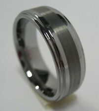 Men Jewelry Fashion Tungsten Carbide Ring Band 8 mm Brushed Step Edge Size 9