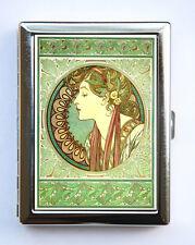 Art Nouveau Goddess Cigarette Case id case Wallet Business Card Holder green