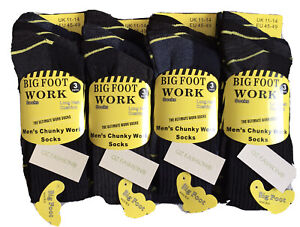 6 PAIRS OF MENS BIG FOOT HEAVY DUTY THICK WORK BOOT SOCKS SIZE 11-14 LARGE FEET
