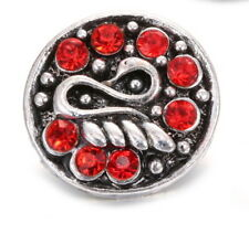 RED Rhinestone Swan Interchangeable Noosa Ginger Snaps Button Charm Jewelry 18mm