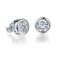 Cubic Zirconia 10mm Women's G255 White Gold Plated Earring Round Aaa