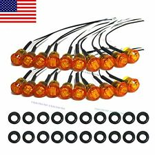 "20X Mini 12V Amber 3/4"" Round Side 3 LED Marker Car Trailer Bullet Light US Ship"