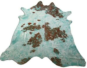 Spotted Turquoise Acid Washed Cowhide Rug: 8' X 7' Blue/Brown Cow Hide Rug K-174