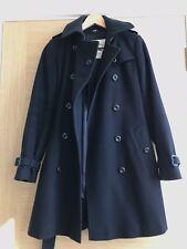 Women Burberry black double breasted wool coat, size UK 4